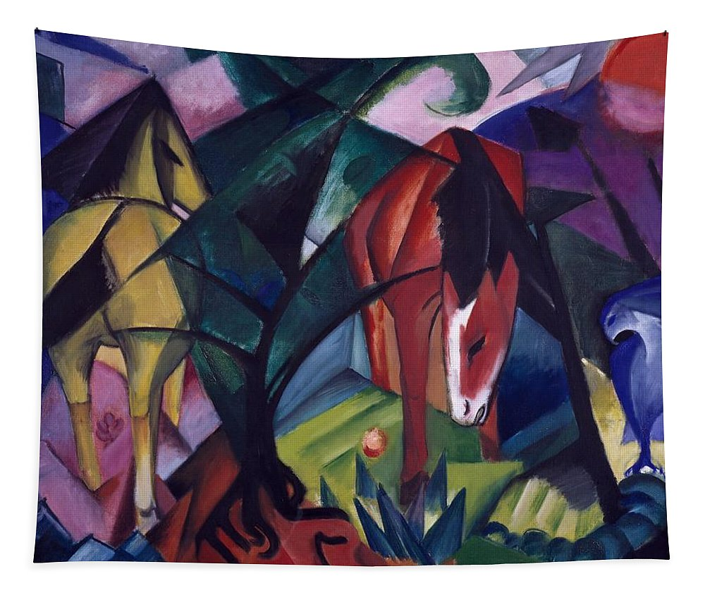 Chevaux Et Aigle; Pferde Und Adler; Horses; Sun; Landscape; Expressionist; Der Blaue Reiter; Blue Rider Tapestry featuring the painting Horse And Eagle by Franz Marc