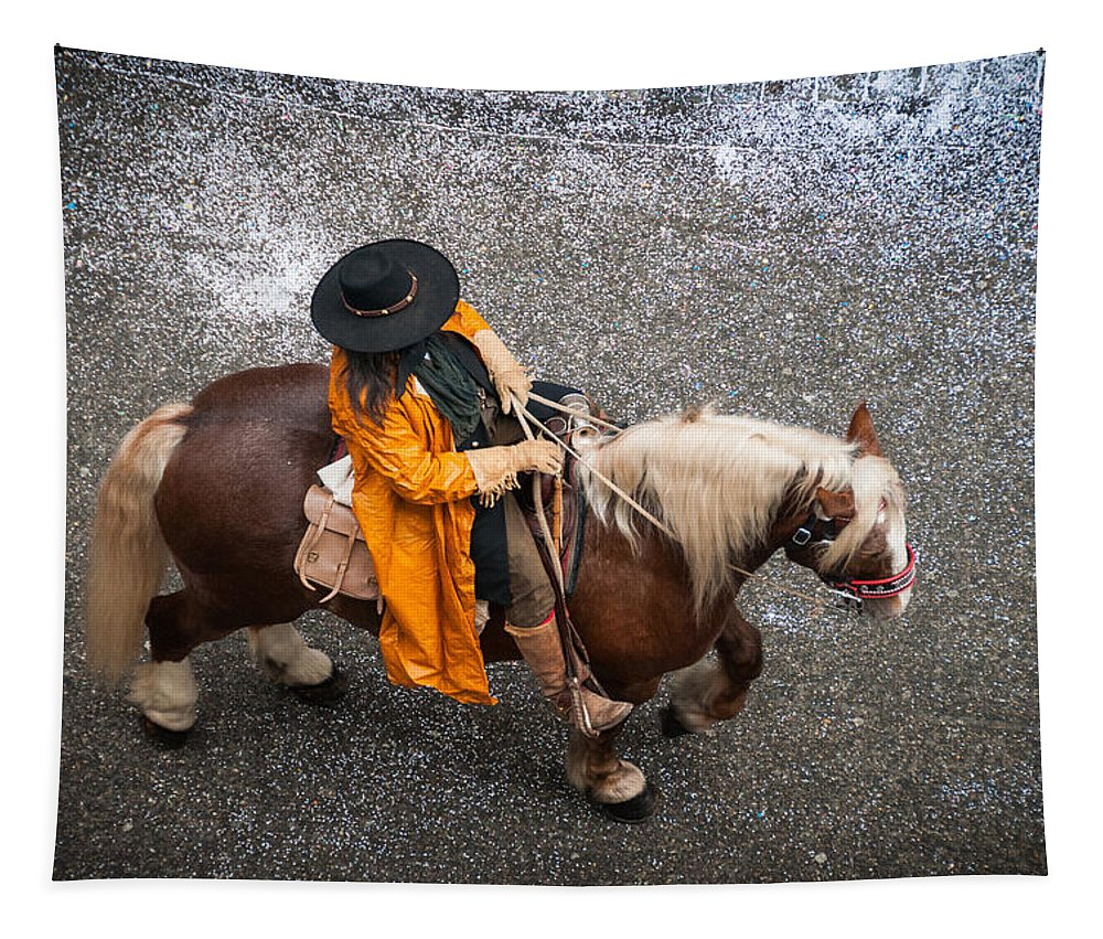 Horse Tapestry featuring the photograph Horse And Rider From Above by Matthias Hauser
