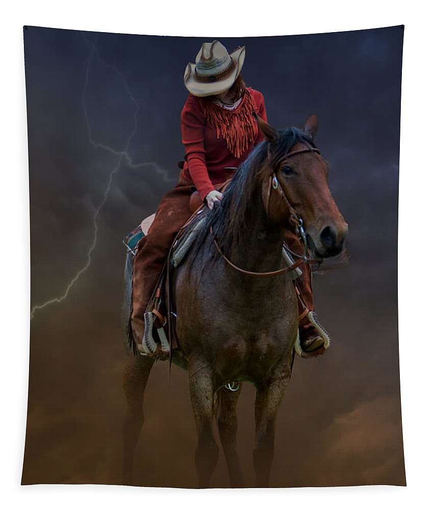 Blairstown Tapestry featuring the digital art Horse And Rider by Jerry Fornarotto
