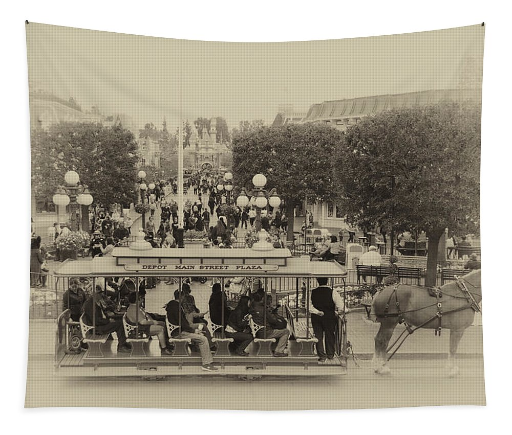 Disney Tapestry featuring the photograph Horse And Trolley Main Street Disneyland Heirloom by Thomas Woolworth
