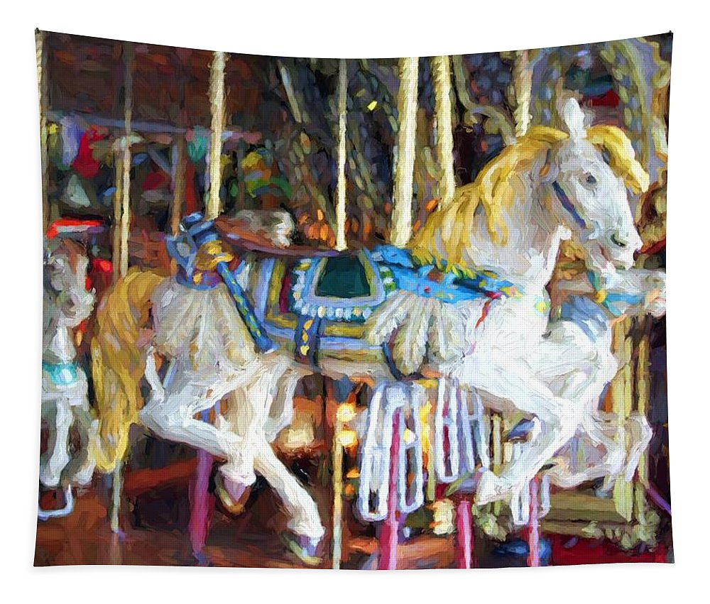 Franklin Park Carousel Tapestry featuring the photograph Horse On Carousel by Alice Gipson