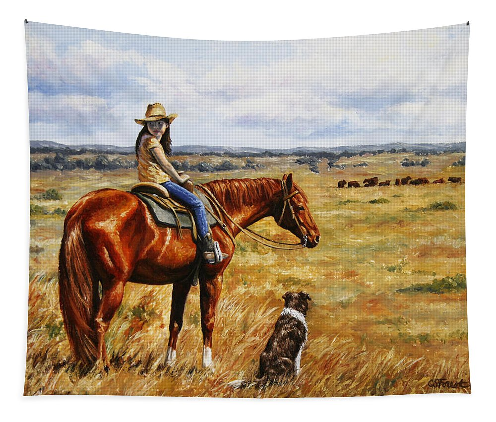 Western Tapestry featuring the painting Horse Painting - Waiting For Dad by Crista Forest