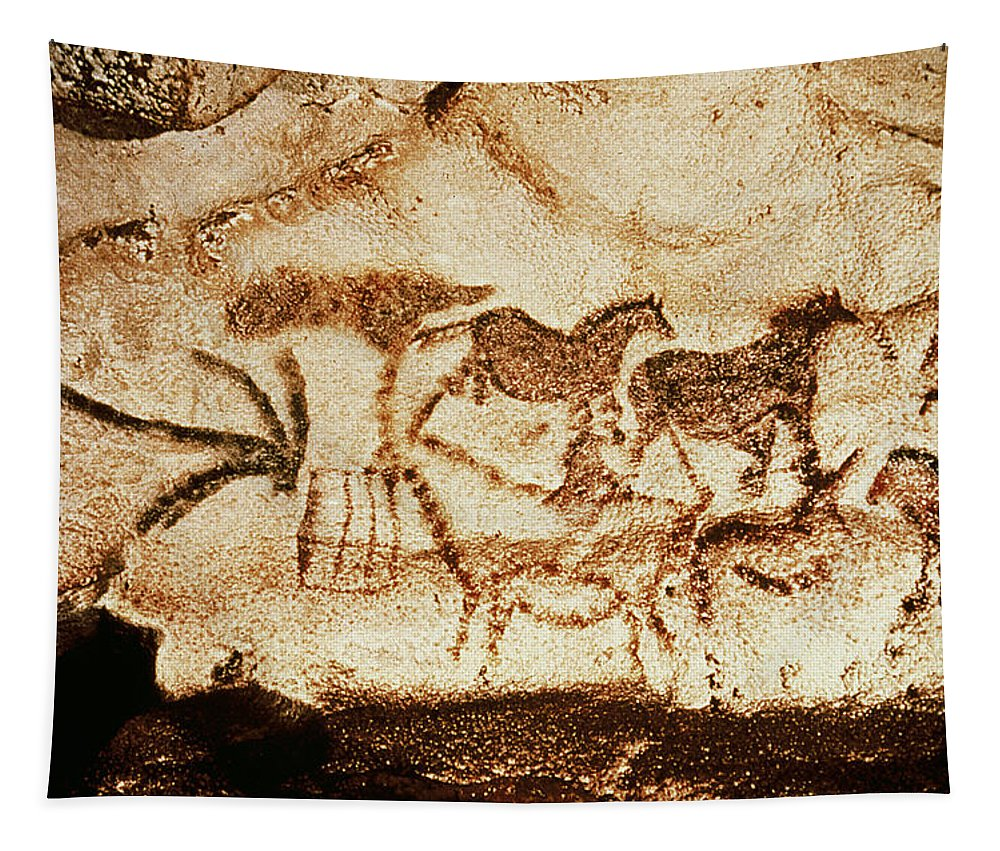 Ponies Tapestry featuring the painting Horses And Deer From The Caves At Altamira, 15000 Bc Cave Painting by Prehistoric
