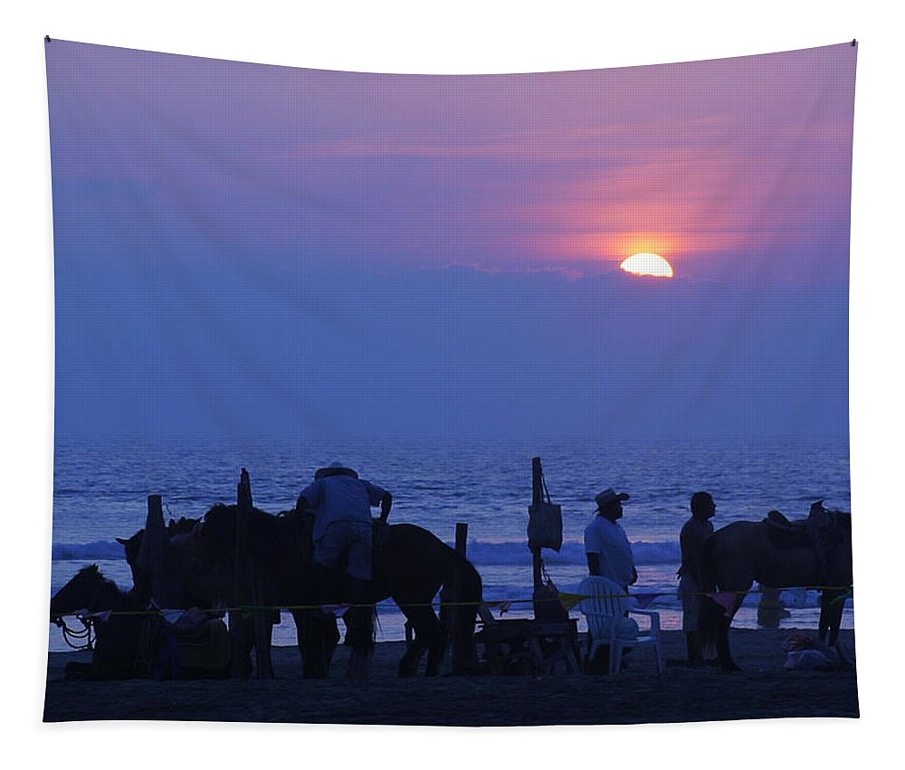 Acapulco Tapestry featuring the photograph Horses On An Acapulco Beach by Belinda Greb