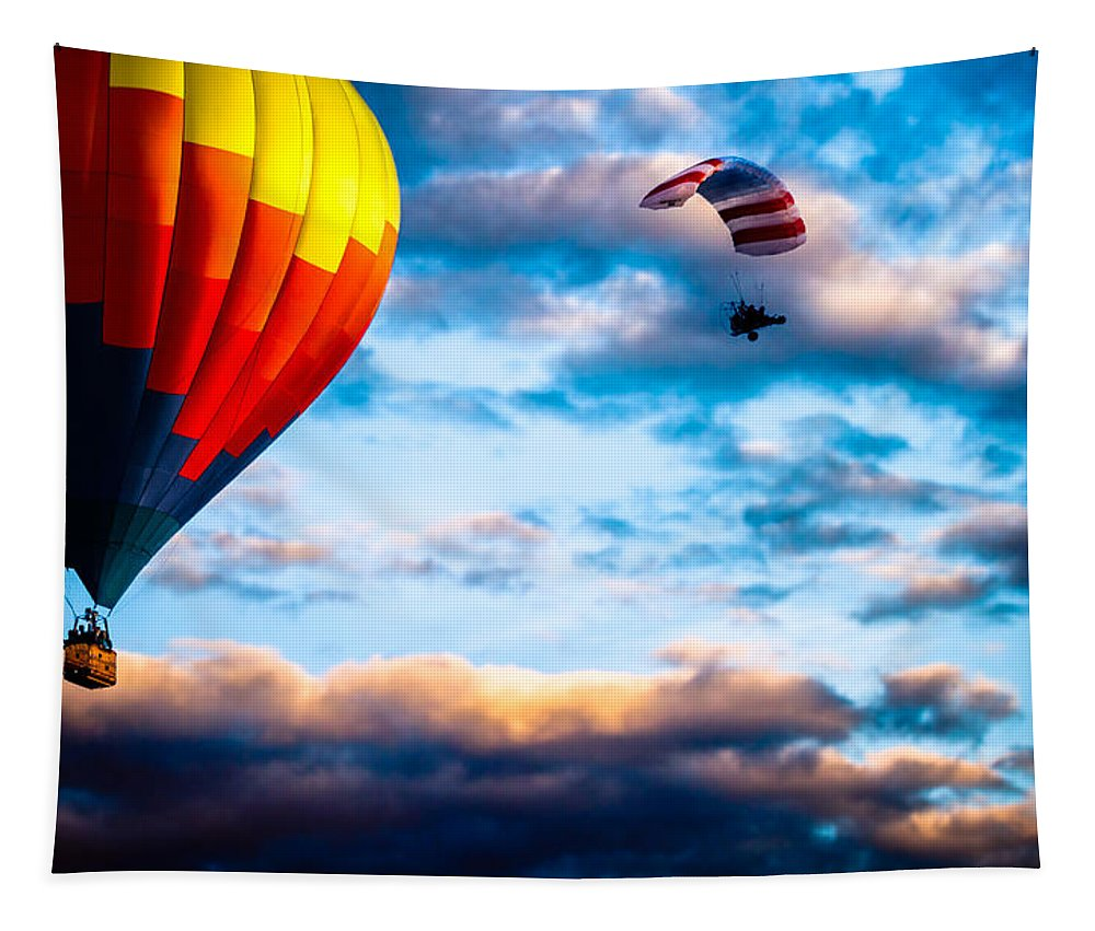 Hot Air Balloon Tapestry featuring the photograph Hot Air Balloon And Powered Parachute by Bob Orsillo