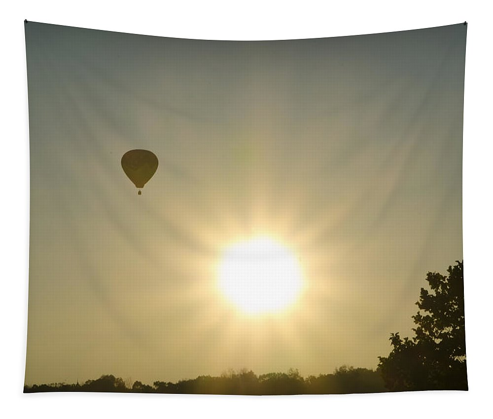 Hot Tapestry featuring the photograph Hot Air Balloon At Sunrise by Bill Cannon