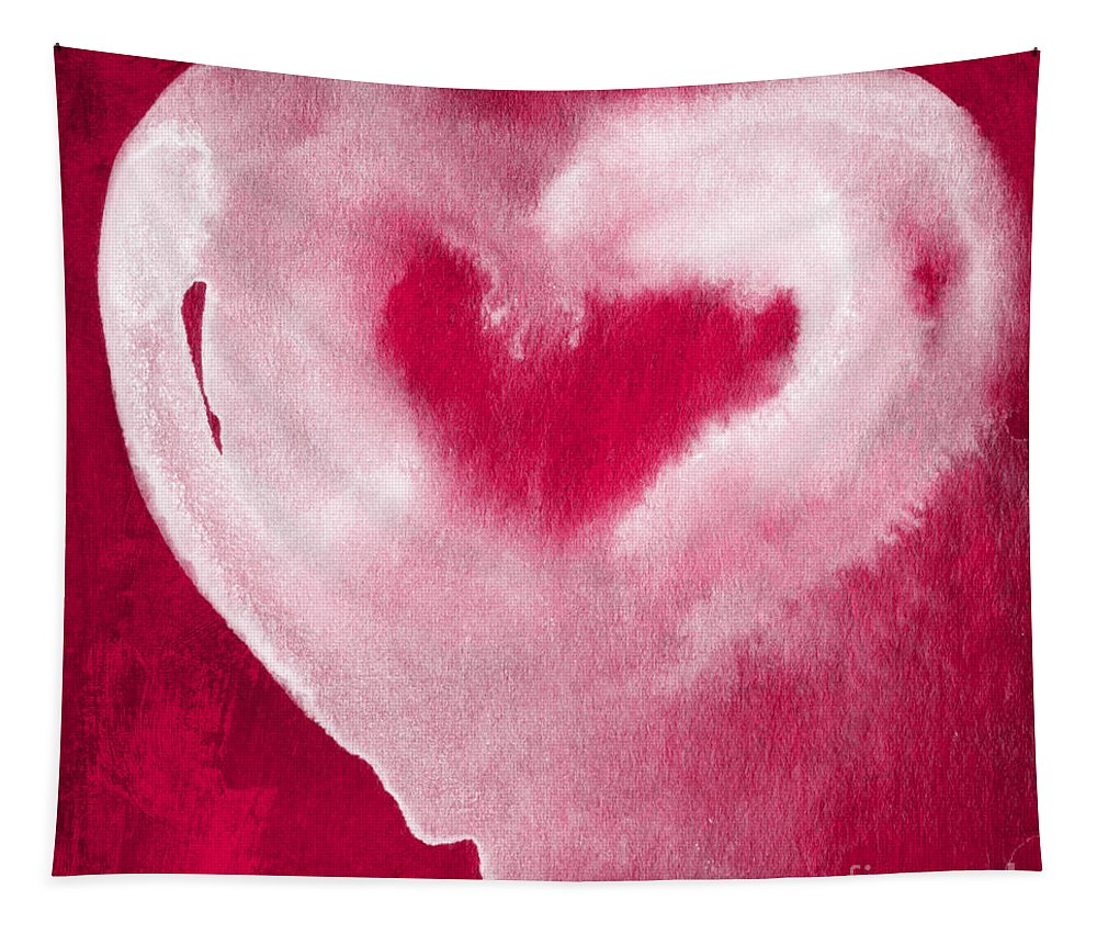 Valentine Tapestry featuring the mixed media Hot Pink Heart by Linda Woods