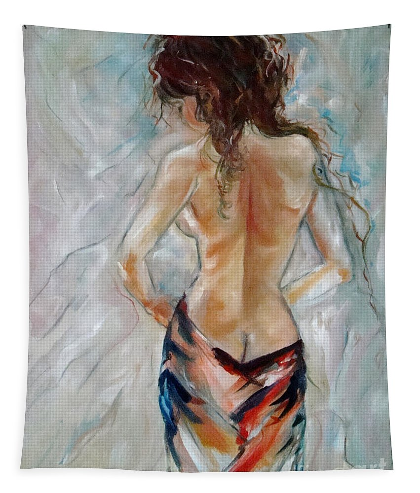 Contemporary Art Tapestry featuring the painting Hot Summer by Silvana Abel