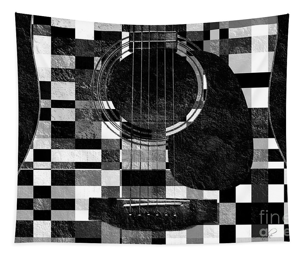 Guitar Tapestry featuring the photograph Hour Glass Guitar Random Bw Squares by Andee Design