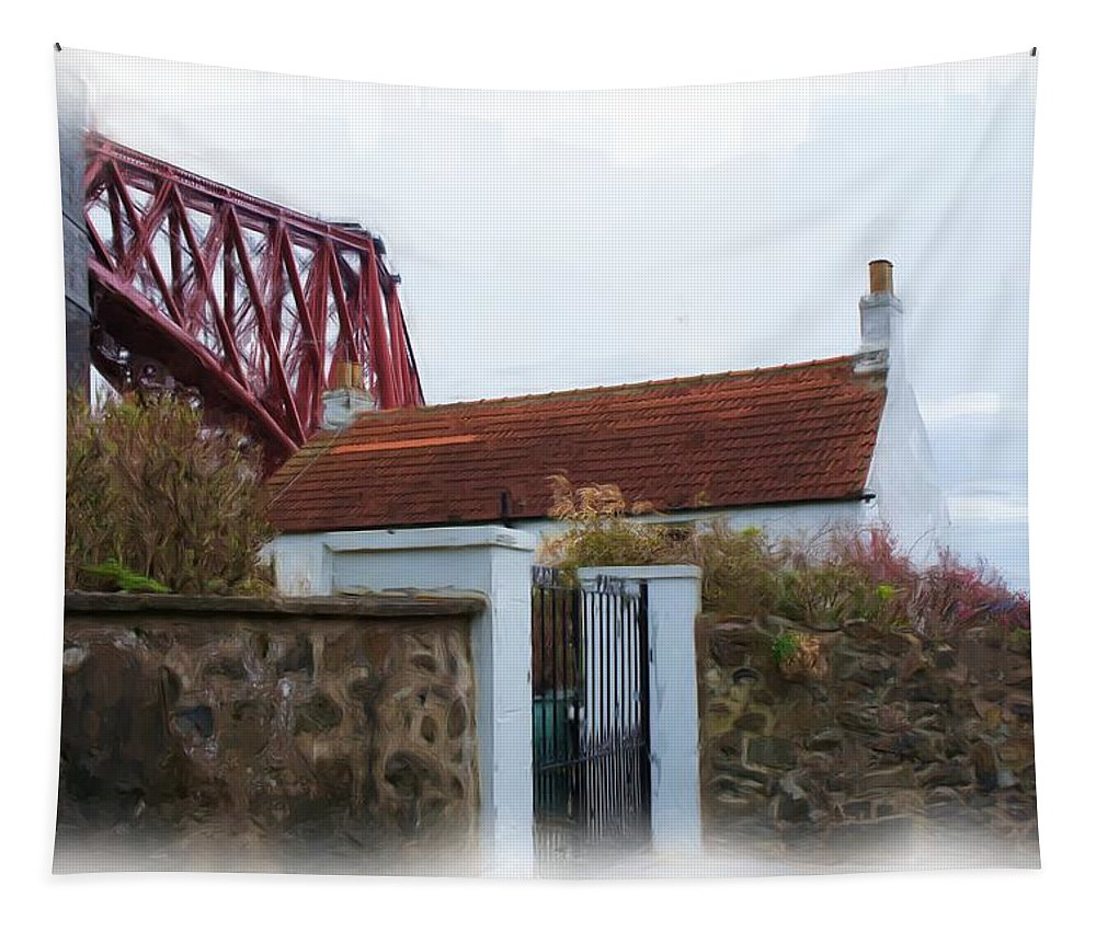 House At The Bridge Tapestry featuring the photograph House At The Bridge by Elena Perelman