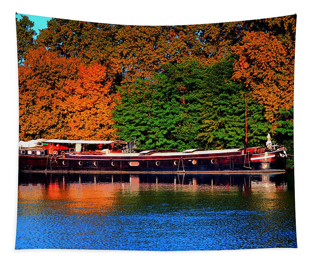 Europe Tapestry featuring the photograph House Boat River Barge In France by Tom Prendergast