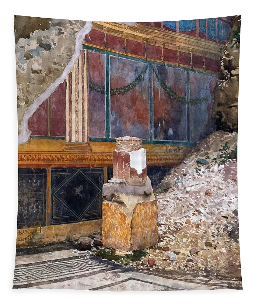 House Of The Silver Wedding Tapestry featuring the drawing House Of The Silver Wedding, Damaged by Luigi Bazzani