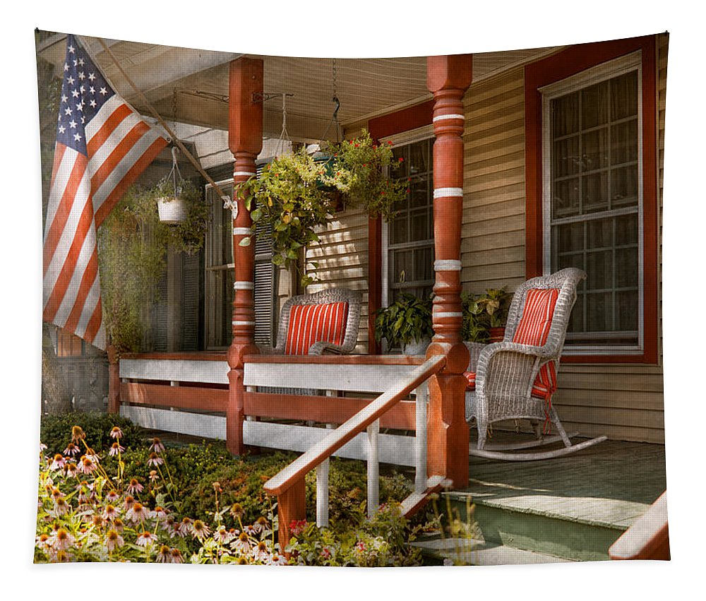 Porch Tapestry featuring the photograph House - Porch - Traditional American by Mike Savad