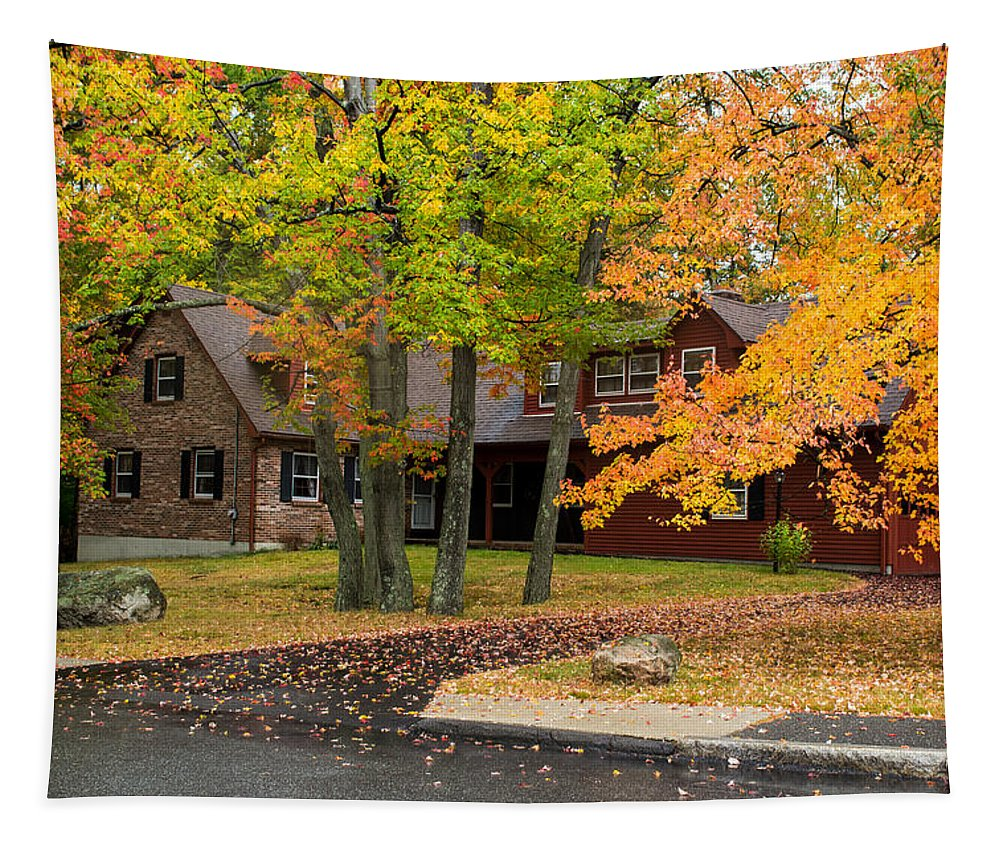 Fall Colors Tapestry featuring the photograph House Surrounded With Colors by Jatinkumar Thakkar