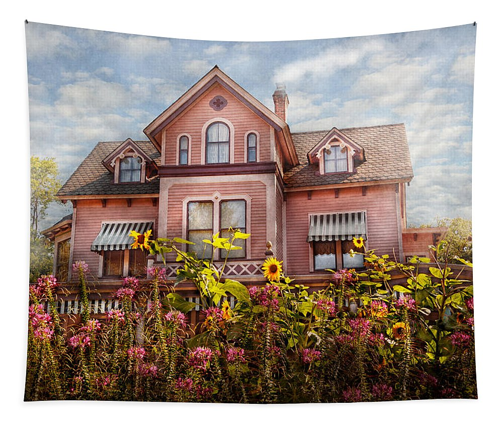 Pink Tapestry featuring the photograph House - Victorian - Summer Cottage by Mike Savad