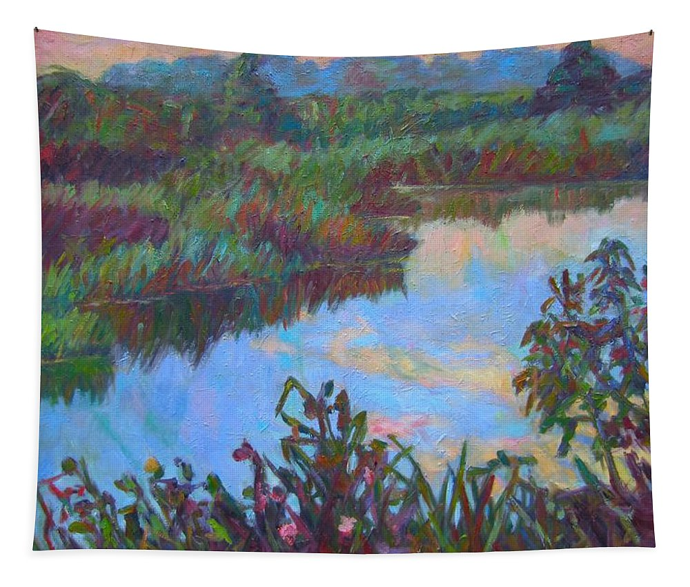 Landscape Tapestry featuring the painting Huckleberry Line Trail Rain Pond by Kendall Kessler