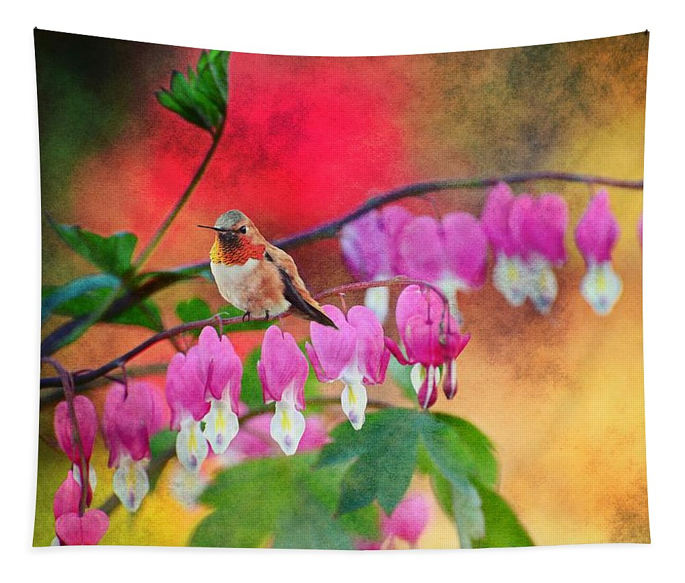 Hummer Tapestry featuring the photograph Hummer With Heart by Lynn Bauer