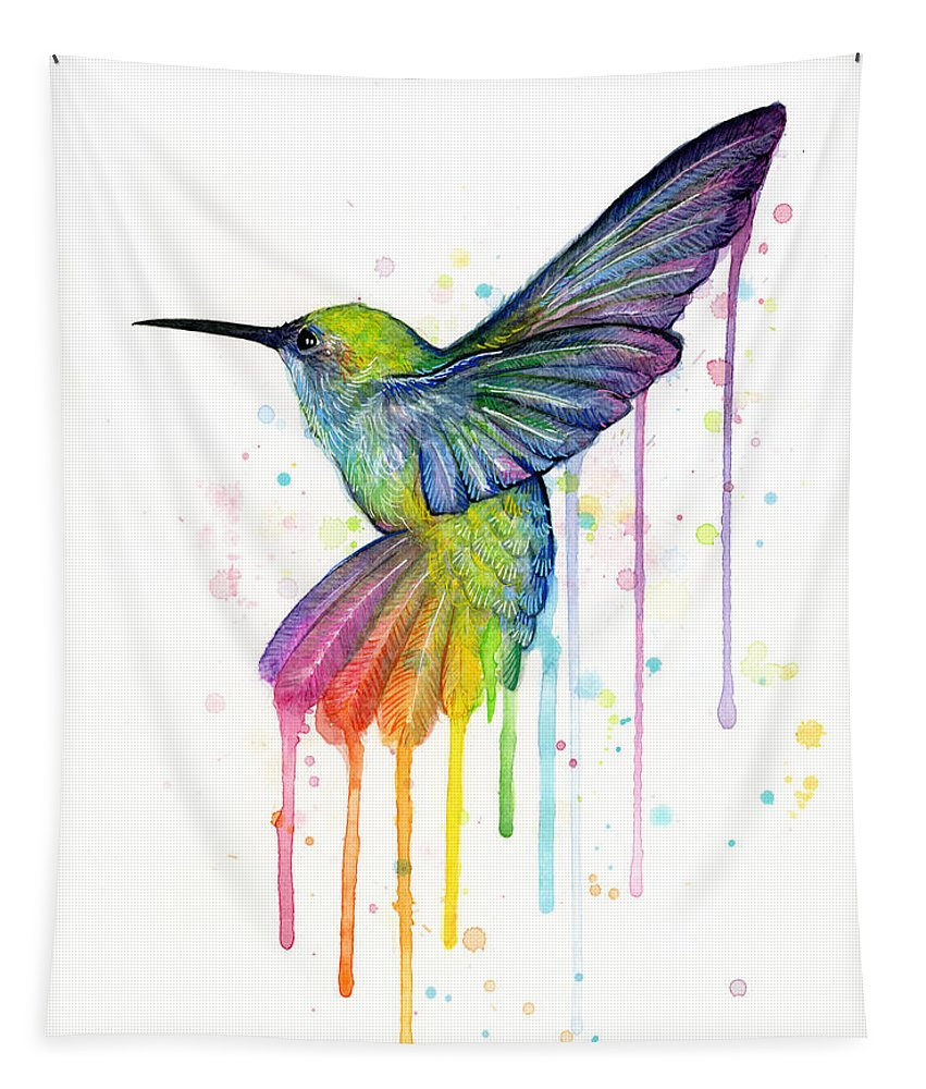 Hummingbird Tapestry featuring the painting Hummingbird Of Watercolor Rainbow by Olga Shvartsur