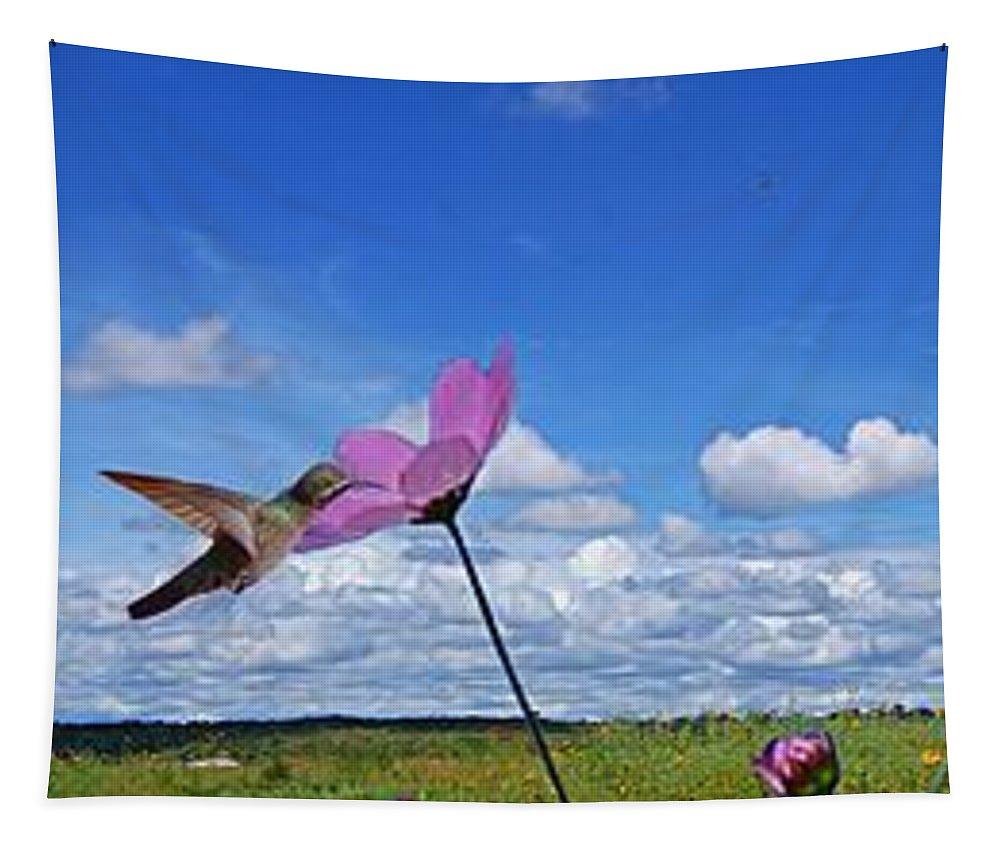 John+kolenberg Tapestry featuring the photograph Hummingbird Panorama by John Kolenberg