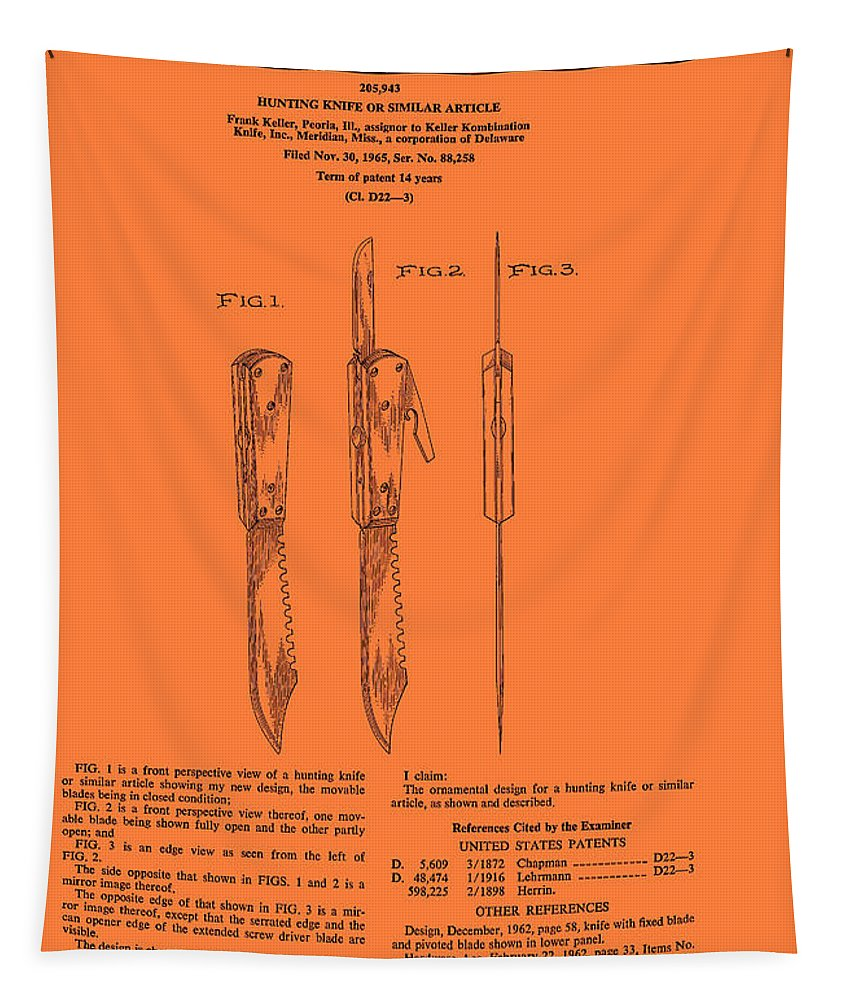 Patent Tapestry featuring the drawing Hunting Knife Patent by Mountain Dreams