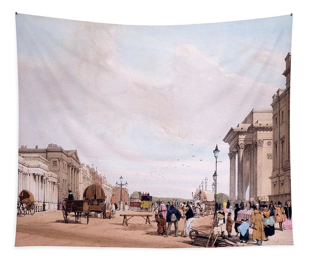 Hyde Park Corner Tapestry featuring the drawing Hyde Park Corner, Looking by Thomas Shotter Boys