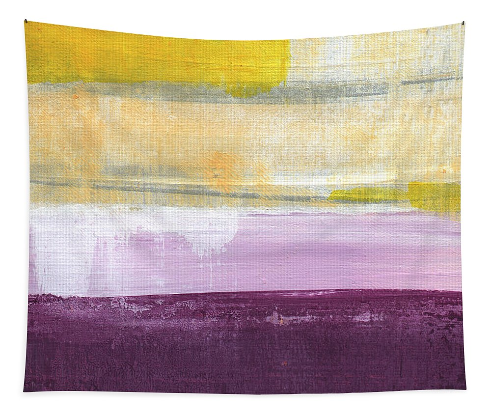 Purple And Yellow Abstract Painting Tapestry featuring the painting Hydrangea Two - abstract painting by Linda Woods