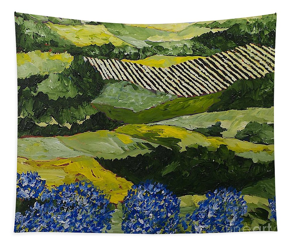 Landscape Tapestry featuring the painting Hydrangea Valley by Allan P Friedlander