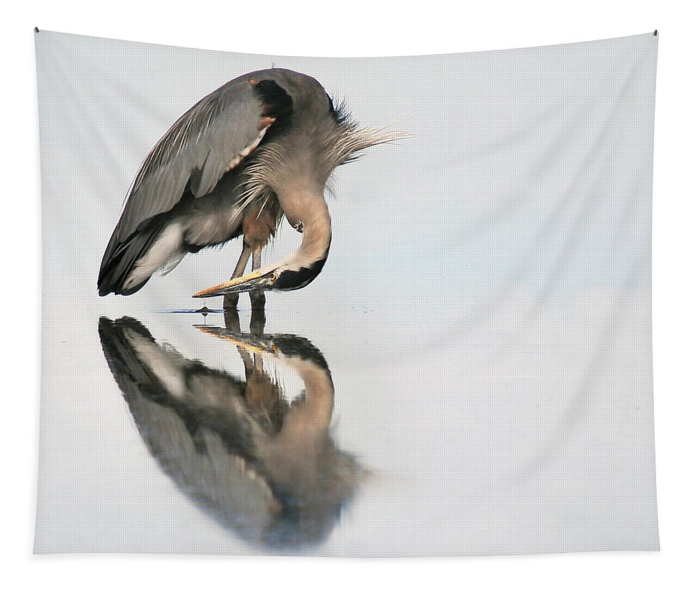 Great Blue Heron Tapestry featuring the photograph I Am by Sher Falls