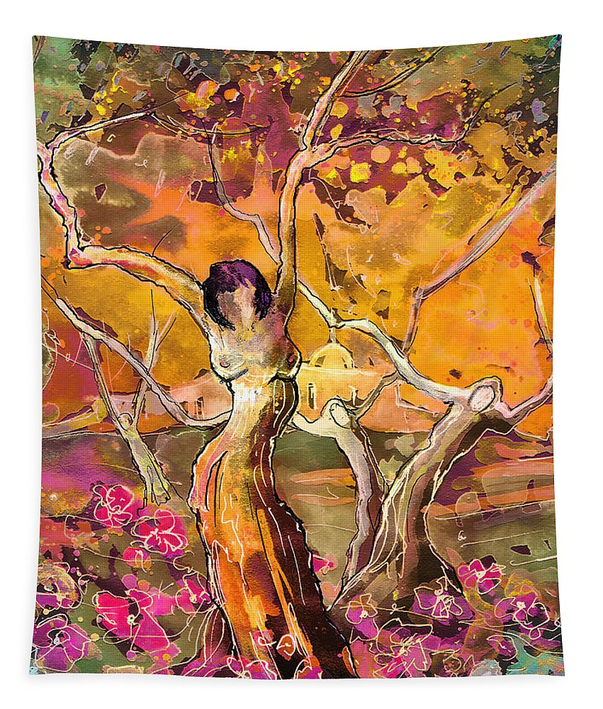 Fantascape Tapestry featuring the painting I Am Young by Miki De Goodaboom