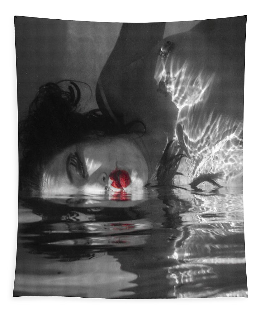 Underwater Tapestry featuring the photograph I Float On Red by Scott Campbell