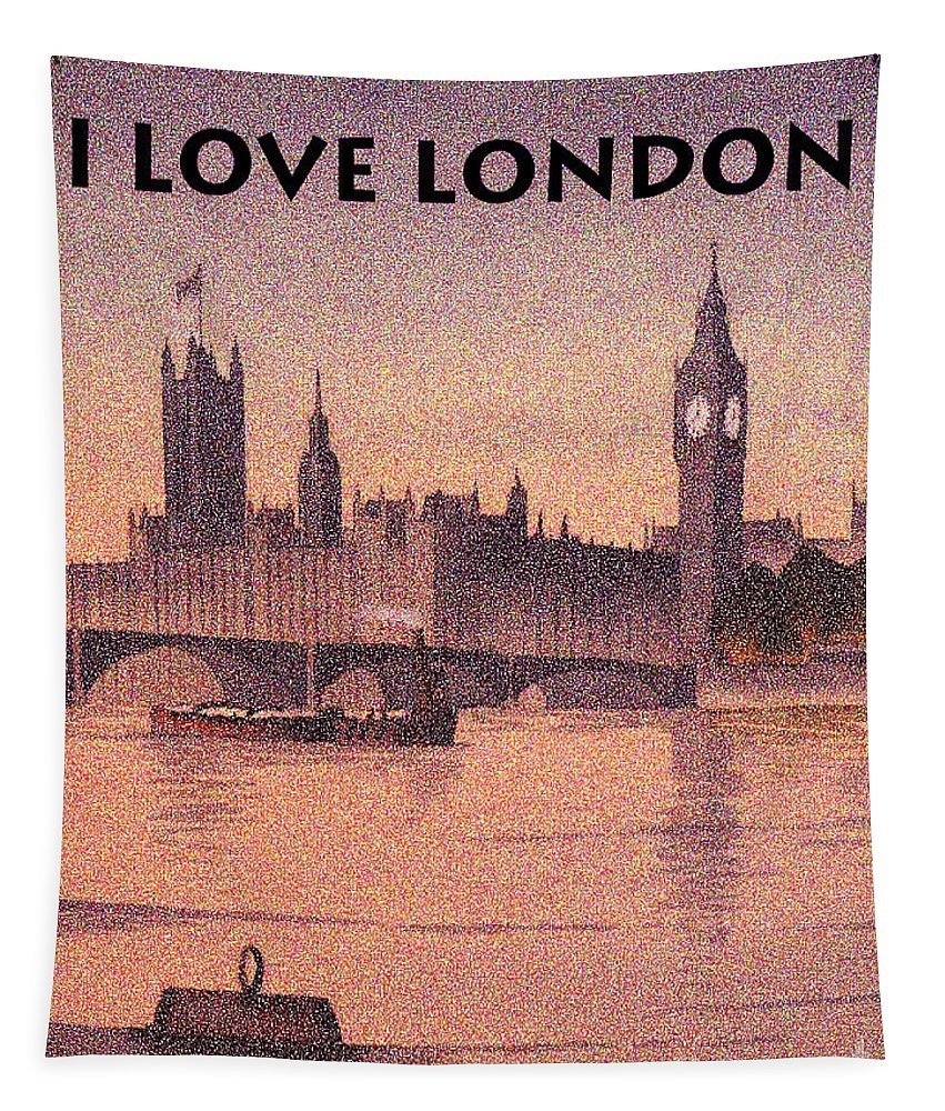 I Love London Tapestry featuring the painting I Love London by Bill Holkham