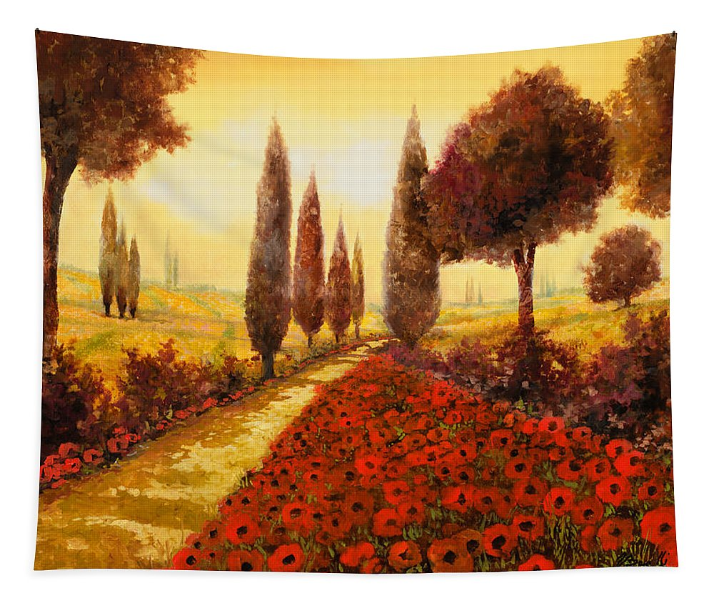 Poppy Fields Tapestry featuring the painting I Papaveri In Estate by Guido Borelli