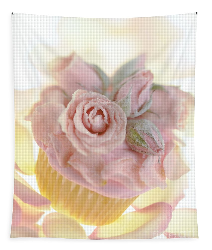 Rose Cupcake Tapestry featuring the photograph Iced Cup Cake With Sugared Pink Roses by Iris Richardson
