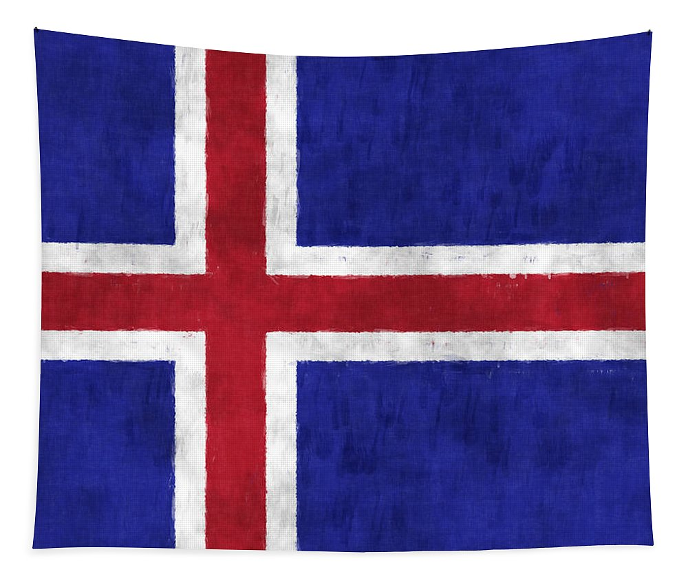 Iceland Tapestry featuring the digital art Iceland Flag by World Art Prints And Designs