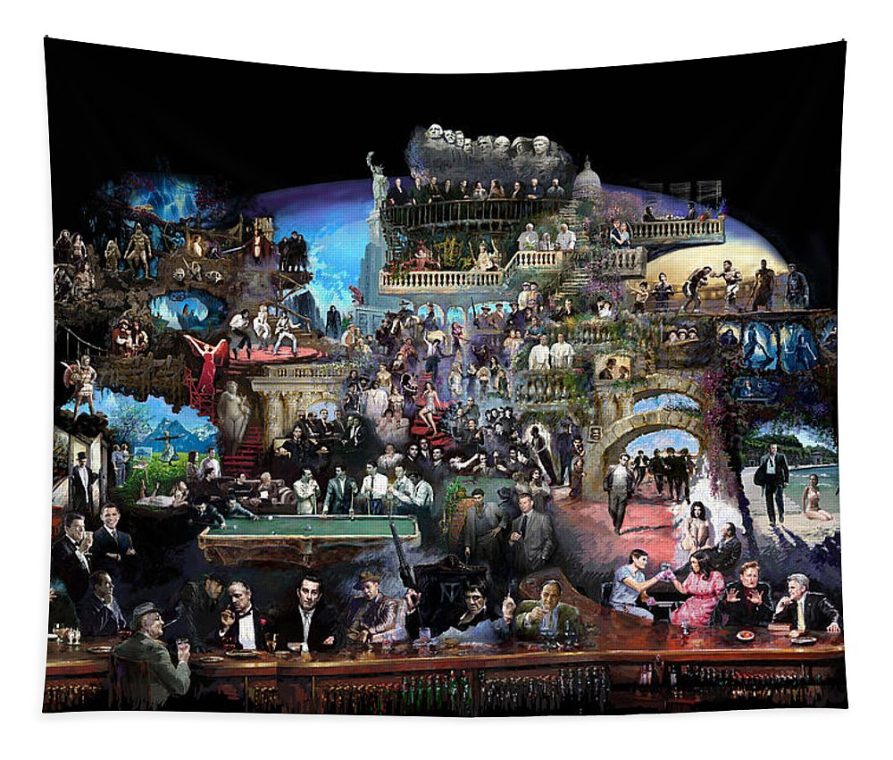 Icones Of History And Entertainment Tapestry featuring the mixed media Icons Of History And Entertainment by Ylli Haruni