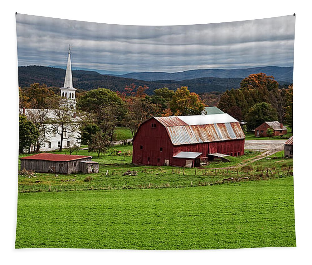 Vermont Tapestry featuring the photograph Idyllic Vermont Small Town by Edward Fielding