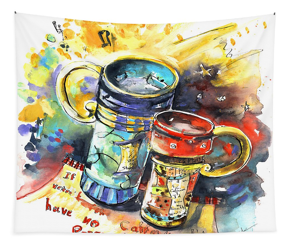 Cafe Crem Tapestry featuring the painting If It Were Not For Caffeine by Miki De Goodaboom