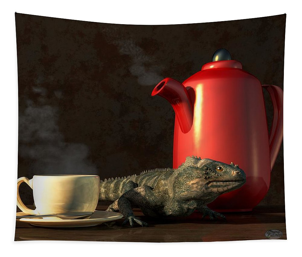 Iguana Coffee Tapestry featuring the digital art Iguana Coffee by Daniel Eskridge