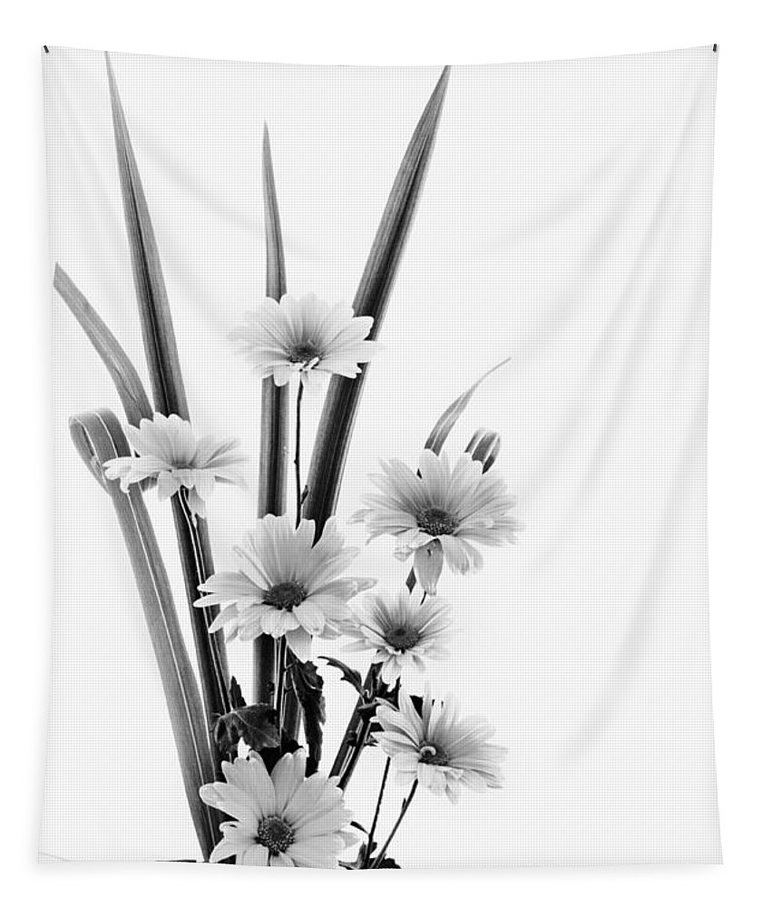 Black And White Flowers Tapestry featuring the photograph Ikebana Daisies by Nikolyn McDonald