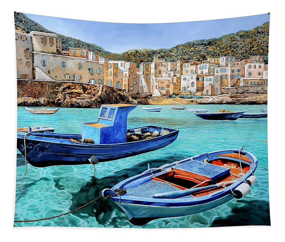 Emerald Tapestry featuring the painting Il Mare Smeraldo by Guido Borelli