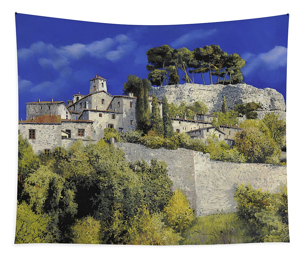 Blue Village Tapestry featuring the painting Il Villaggio In Blu by Guido Borelli