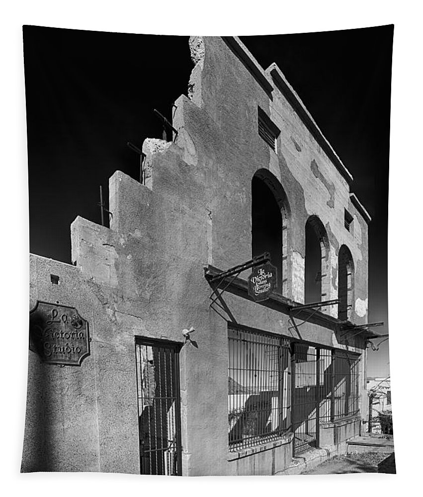 Abandoned Tapestry featuring the photograph Im Still Standing Jerome Black And White by Scott Campbell