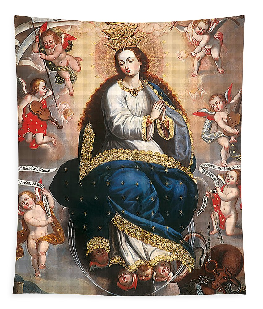 Painting Tapestry featuring the painting Immaculate Virgin Victorious Over The Serpent Of Heresy by Mountain Dreams