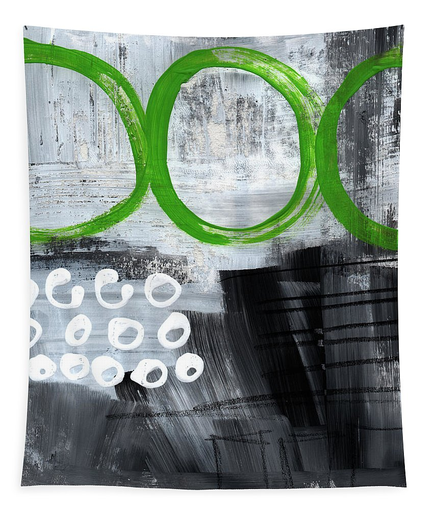 Abstract Tapestry featuring the painting In Circles- Abstract Painting by Linda Woods