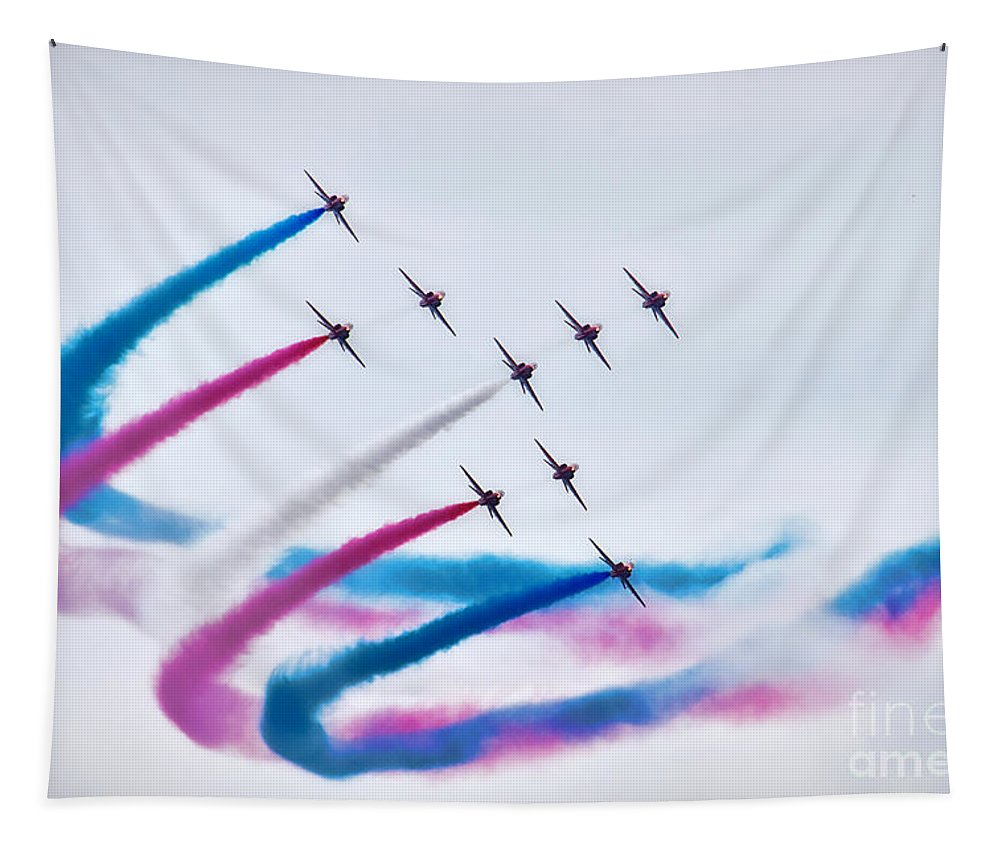 Red Arrows Tapestry featuring the photograph In Perfect Formation by Susie Peek
