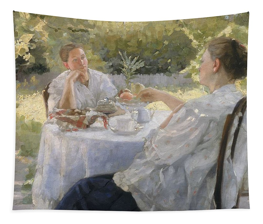 Female; Drinking; Tea Time; Summer; Sunshine; Leisure; Relaxation; Relaxing; Chatting; Thoughtful; Concerned; Sunlight; Edwardian; Idyllic Tapestry featuring the painting In The Garden by Lukjan Vasilievich Popov