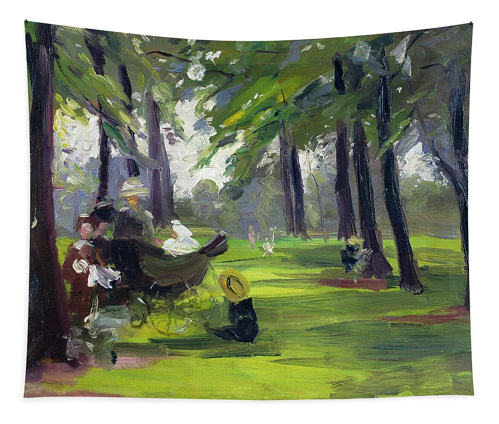 Family Tapestry featuring the painting In The Park by Mary C Greene