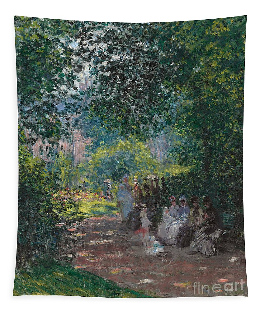 Paris; Parisian; Leisure; Summer; Sunshine; Idyllic; Spring; Seated; Society; Gathering; Women; Female; Bench; Shade; Green; Wooded; Opening; Parasol; Parasols; France; French; Impressionist; Impressionism; Park; Monceau; Monceau Parc; Parc; Paris; Parisian; Leisure; Summer; Sunshine; Idyllic; Spring; Gathering; Women; Female; Bench; Shade; Green; Wooded; French Tapestry featuring the painting In The Park Monceau by Cluade Monet