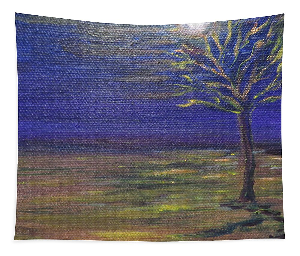 Landscape Tapestry featuring the painting In The Still Of The Night by Soraya Silvestri