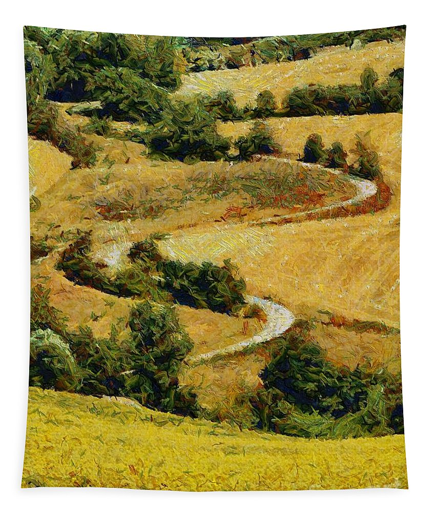Landscapes Tapestry featuring the painting In The Valley by Dragica Micki Fortuna